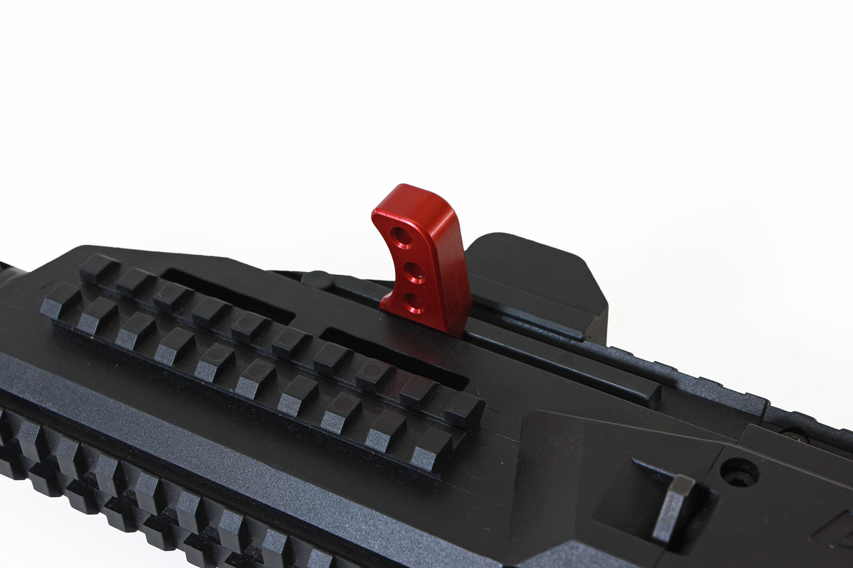 HB Industries ScorpionTheta Charging Handle-installed-Red