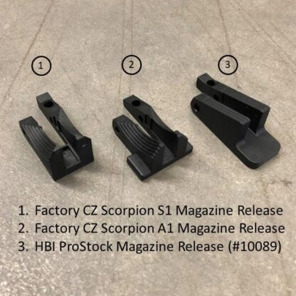 HBI CZ Scorpion ProStock Magazine Release Compared to Factory Parts